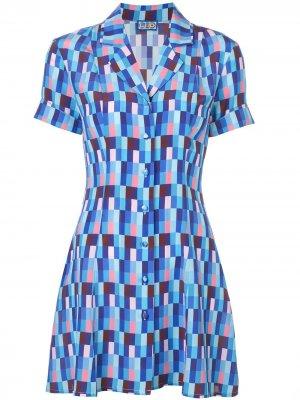 Короткое платье-рубашка с принтом Lhd. Цвет: синий