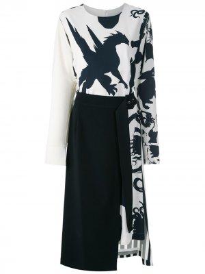 Платье миди со съемной юбкой Gloria Coelho. Цвет: нейтральные цвета