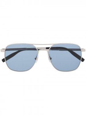 Солнцезащитные очки-авиаторы Montblanc. Цвет: серебристый