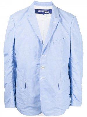 Однобортный пиджак с жатым эффектом Junya Watanabe MAN. Цвет: синий