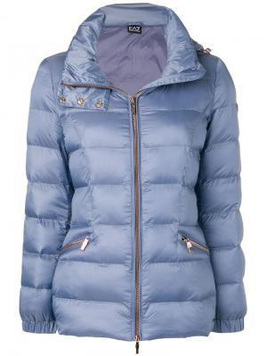 Короткая утепленная куртка Ea7 Emporio Armani. Цвет: синий