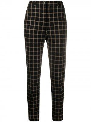 Клетчатые брюки с завышенной талией Seventy. Цвет: коричневый