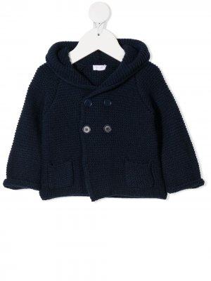 Трикотажная куртка с капюшоном Il Gufo. Цвет: синий