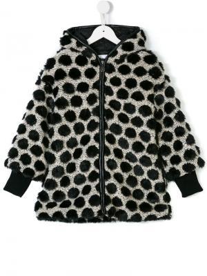 Пальто в горох с отделкой из искусственного меха Elsy. Цвет: черный