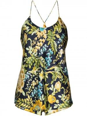 Пижама Bella Debauchery с цветочным принтом Olivia von Halle. Цвет: синий