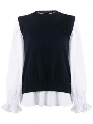 Блузка с трикотажным жилетом Ermanno. Цвет: синий
