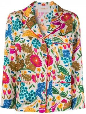 Пижамная рубашка Colombo с узором La Doublej. Цвет: белый