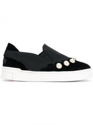 Embellished slip-on sneakers Suecomma Bonnie. Цвет: черный