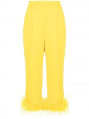 Укороченные брюки с перьями Styland. Цвет: желтый