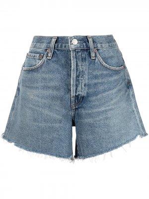 Джинсовые шорты с эффектом потертости AGOLDE. Цвет: синий