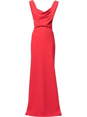 Вечернее платье с воротником-хомутом Tadashi Shoji. Цвет: красный