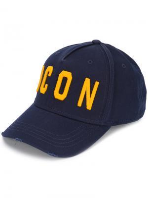 Бейсбольная кепка с вышивкой Icon Dsquared2. Цвет: синий