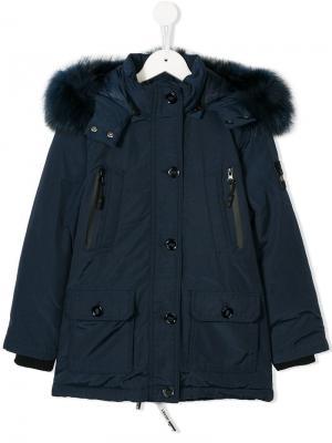 Пальто с капюшоном оторочкой искусственным мехом Diadora Junior. Цвет: синий