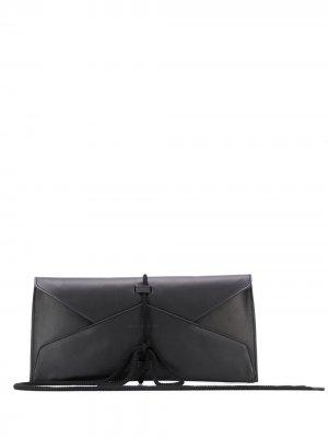 Клатч-конверт с завязками Ann Demeulemeester. Цвет: черный