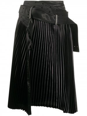 Плиссированная юбка асимметричного кроя Junya Watanabe. Цвет: черный