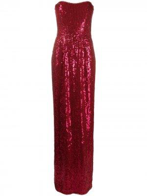 Платье с без бретелей пайетками Jenny Packham. Цвет: розовый