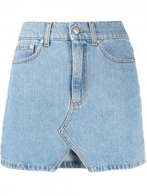 Джинсовая мини-юбка с вышитым логотипом Chiara Ferragni. Цвет: синий