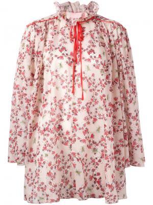 Блузка с цветочным принтом Giamba. Цвет: нейтральные цвета