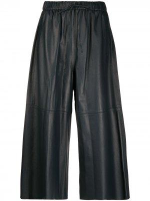 Укороченные брюки широкого кроя Yves Salomon. Цвет: синий