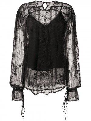 Полупрозрачная блузка с кружевным узором Preen By Thornton Bregazzi. Цвет: черный