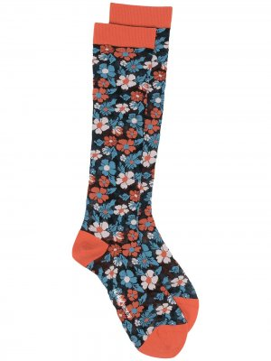 Носки с цветочным узором HENRIK VIBSKOV. Цвет: синий