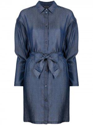 Джинсовое платье с завязками Emporio Armani. Цвет: синий