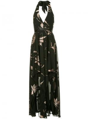 Длинное платье-халтер Halston Heritage. Цвет: черный