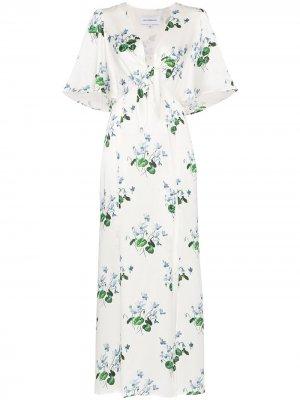 Платье макси с цветочным принтом Les Rêveries. Цвет: голубой daffodil белый