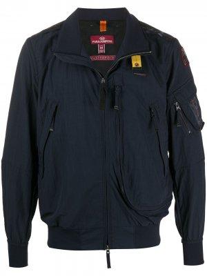 Куртка-бомбер с карманами на молнии Parajumpers. Цвет: синий