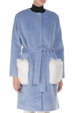 Пальто MAGENTA FACTORY. Цвет: небесно-синий
