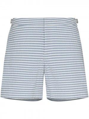 Полосатые плавки-шорты Bulldog Orlebar Brown. Цвет: белый