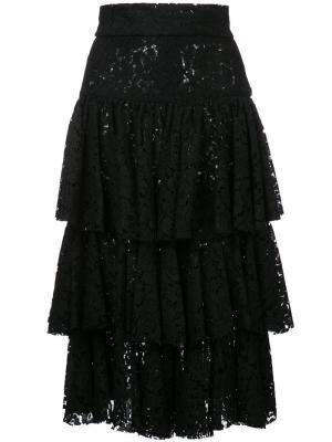 Ярусная юбка миди Bambah. Цвет: черный