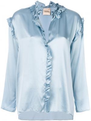 Блузка металлик с оборкой Nude. Цвет: синий