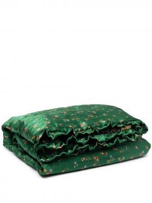 Плед с оборками и цветочным принтом Preen By Thornton Bregazzi. Цвет: зеленый
