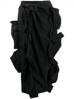 Юбка-карандаш с оборками Preen By Thornton Bregazzi. Цвет: черный