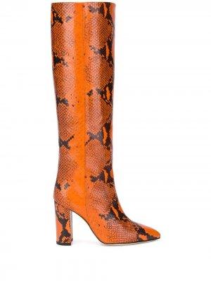 Сапоги с тиснением под змеиную кожу Paris Texas. Цвет: оранжевый