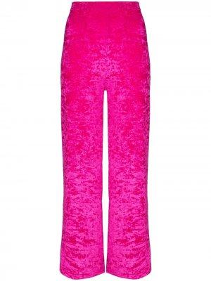 Укороченные бархатные брюки Marine Serre. Цвет: розовый