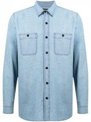 Джинсовая рубашка с карманами Man On The Boon.. Цвет: синий