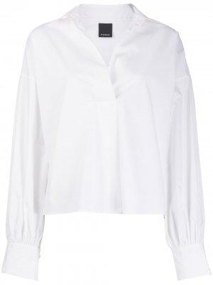 Блузка с объемными рукавами и V-образным вырезом Pinko. Цвет: белый