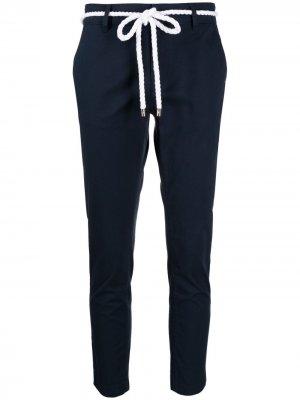 Укороченные брюки с поясом Ea7 Emporio Armani. Цвет: синий