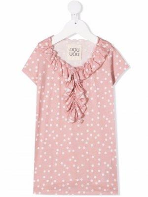 Платье с оборками и узором в горох Douuod Kids. Цвет: розовый