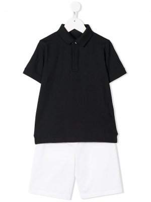 Костюм-двойка с шортами Emporio Armani Kids. Цвет: белый
