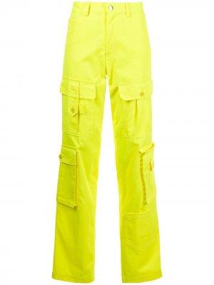Брюки прямого кроя с карманами CHRISTOPHER JOHN ROGERS. Цвет: желтый