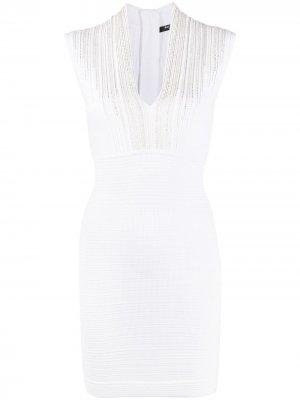 Облегающее платье с кружевом Balmain. Цвет: белый