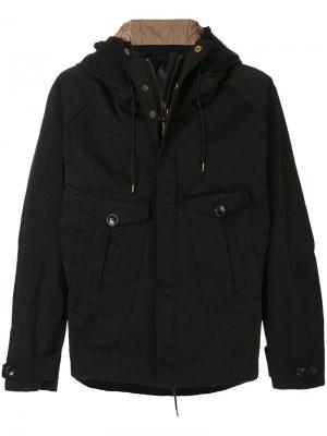 Пальто с капюшоном Ten-C. Цвет: чёрный