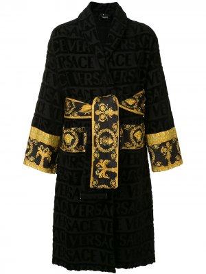 Халат с узором Barocco Versace Home. Цвет: черный