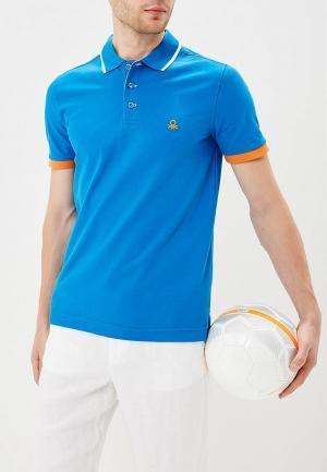 Поло United Colors of Benetton. Цвет: синий