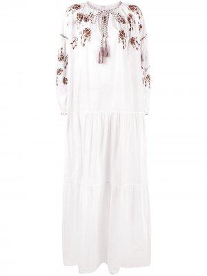 Поплиновое платье-туника с вышивкой P.A.R.O.S.H.. Цвет: белый