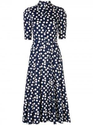 Платье миди в горох Carolina Herrera. Цвет: синий