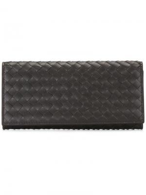 Бумажник с плетеным узором Bottega Veneta. Цвет: коричневый